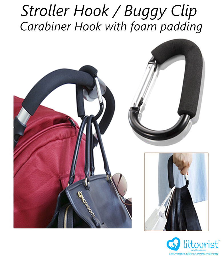 Large Stroller Hooks Buggy Clips Ping Bag Holder With Protective Padding